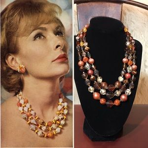 Vtg Triple Strand Lucite & Glass Beaded Necklace